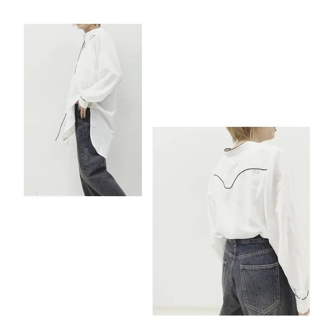 シアーウエスタンシャツ¥4,500+taxcamel/white/blackパイピング配色がポイントのビックシルエットシャツ。パンツでさらっと合わせるだけでお洒落みえします◎ #kivi_official#キヴィ#kivi#大人ファッション#大人カジュアル#秋ブラウス#秋ファッション#秋コーデ#大人ブラウス#大人コーデ#大人スタイル#モード#ootd#kivi_ootd#fashion#wear#オンオフ#ニューノーマル