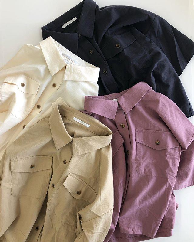 .【new arrival】.🏷RE980023B006半袖ポケ付SH▷¥2,500+tax(今日.明日店舗入荷).∥color∥ white / beige / pink / charcoal..#retrogirl#newarrival#fashion#summer#shirt#レトロガール#カジュアル#カジュアルアイテム#プチプラ#プチプラアイテム#プチプラファッション#プチプラコーデ#半袖シャツ#カラーシャツ