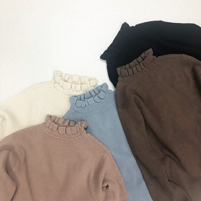 .【new arrival】.🏷RW980012C013 フリルリブHNニット▷¥1,900+tax(店舗入荷中).∥color∥pink / ivory / blue / brown / black..#retrogirl#newarrival#fashion#Autumn#knit#レトロガール#カジュアル#カジュアルアイテム#プチプラ#プチプラアイテム#プチプラファッション#プチプラコーデ#フリルニット#ハイネックニット