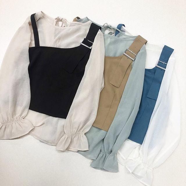 .【new arrival】.🏷RU037523D008 ビスチェSETリボンBL▷¥2,900+tax(店舗入荷中).∥color∥ brown / beige / blue..#retrogirl#newarrival#fashion#winter#blouse#レトロガール#カジュアル#カジュアルアイテム#プチプラ#プチプラアイテム#プチプラファッション#プチプラコーデ#ビスチェブラウス#ブラウスコーデ#リボンブラウス