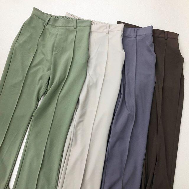 .【new arrival】.🏷RP0P0132A002 セミフレアPT▷¥2,300+tax(店舗入荷中).∥color∥green / white / purple / brown.モデル:157cm..#retrogirl#newarrival#fashion#springfashion#pants#レトロガール#カジュアル#カジュアルアイテム#プチプラ#プチプラアイテム#プチプラファッション#プチプラコーデ#フレアパンツ#セミフレアパンツ#フレアパンツコーデ