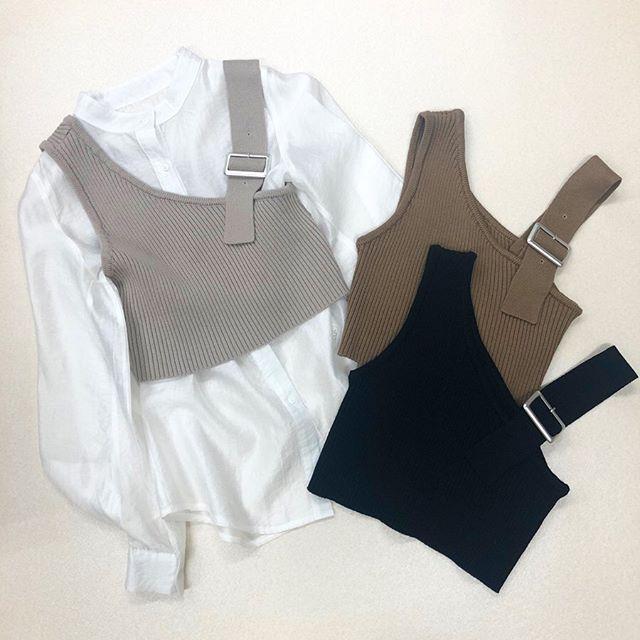 .【new arrival】.🏷RP080012A004 2WAYリブニットキャミ▷¥1,900+tax(店舗入荷中).∥color∥gray / brown / black..#retrogirl#newarrival#fashion#springfashion#knitcamisole#レトロガール#カジュアル#カジュアルアイテム#プチプラ#プチプラアイテム#プチプラファッション#プチプラコーデ#ニットキャミ#ワンショルダートップス#ニットキャミコーデ