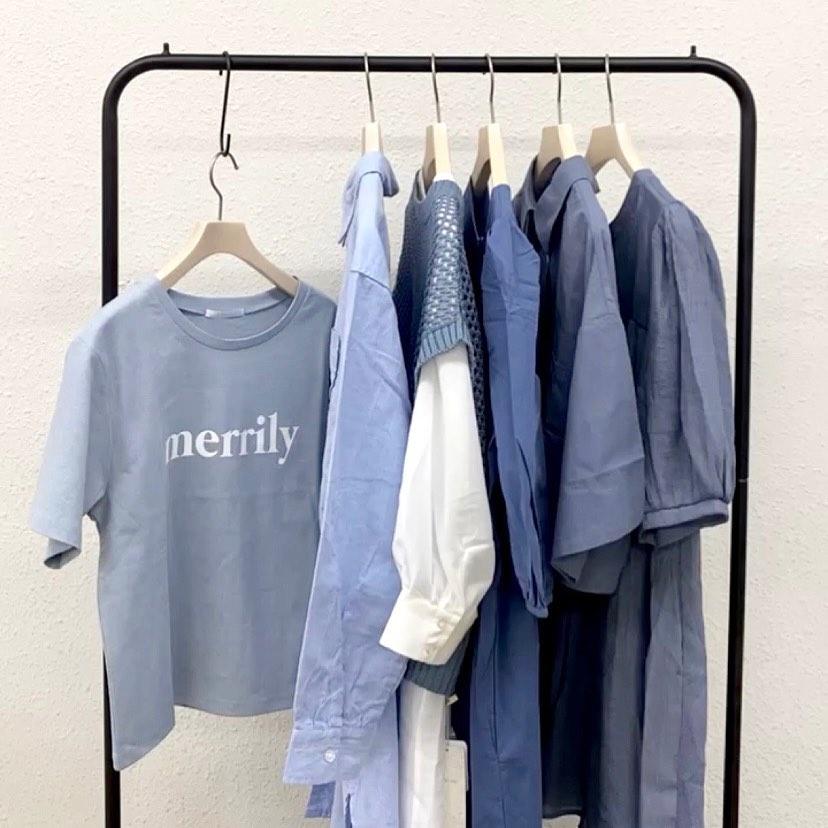 【recommend color】  blue#retrogirl_ootd#レトロガール#レトロガールコーデ#トレンドファッション#プチプラコーデ#blue #ブルー #ブルーコーデ #水色コーデ #ロゴt #ベスト #シャツ #ティアードワンピ #開襟シャツ #チュニック #夏カラー #夏コーデ #2021ss